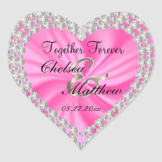 Wedding Day Pink Satin | Personalize Heart Sticker
