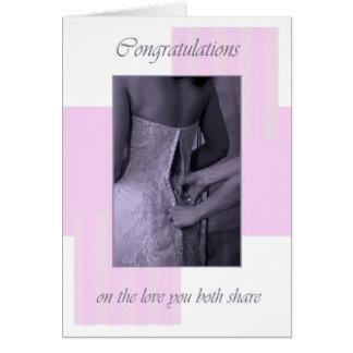 Wedding day pinks congratulations card