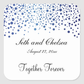 Wedding Day Sapphire Blue Dots | Personalize Square Sticker