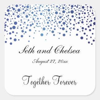 Wedding Day Sapphire Blue Dots | Personalize Square Sticker