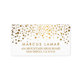 Wedding Day Trendy Gold Dots Address Label