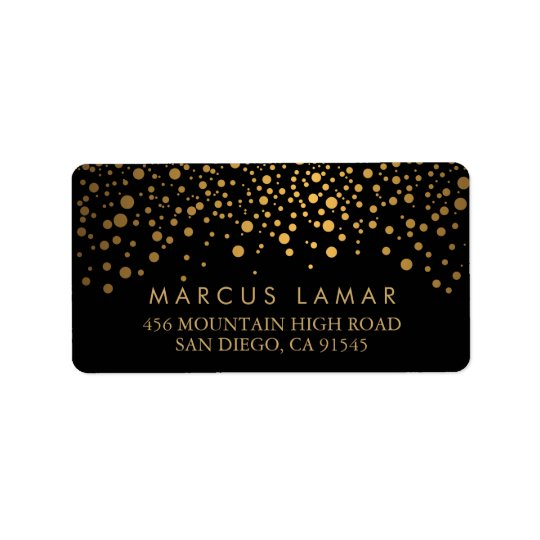 Wedding Day Trendy Gold Dots on Black Address Label