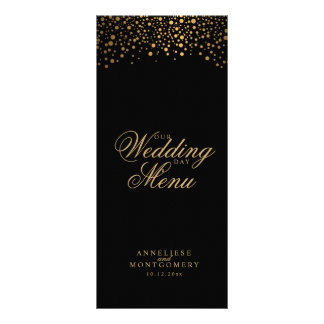 Wedding Day Trendy Gold Dots on Black Rack Card