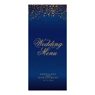 Wedding Day Trendy Gold Dots on Navy Blue Rack Card