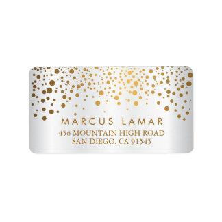 Wedding Day Trendy Gold Dots White Satin Address Label