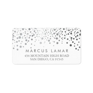 Wedding Day Trendy Silver Dots Label