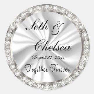 Wedding Day White Satin & Faux Diamonds Round Sticker