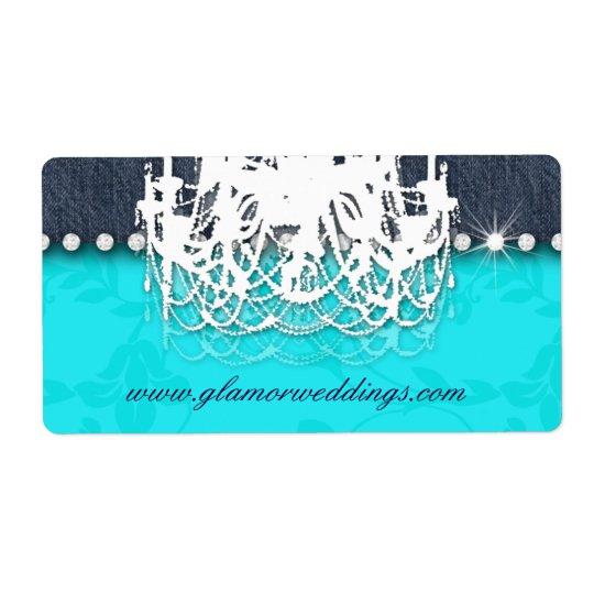 Wedding Denim Chandelier Label Pink Jeans Shipping Label