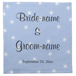 Wedding Design in Light Blue with White Stars. Napkins