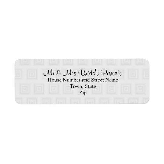 Wedding Design in Pale Grey with Squares. Return Address Label