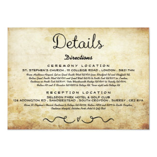 Wedding Detail Insert Card | Vintage Antique