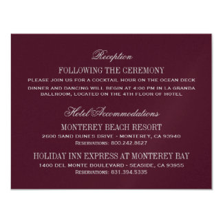 Wedding Details Card | Burgundy and Silver 11 Cm X 14 Cm Invitation Card