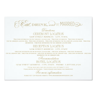 Wedding Details Card | Eat Drink and Be Married 11 Cm X 16 Cm Invitation Card