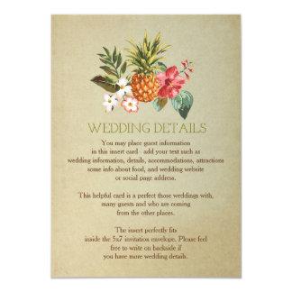wedding details tropical pineapple beach insert 11 cm x 16 cm invitation card