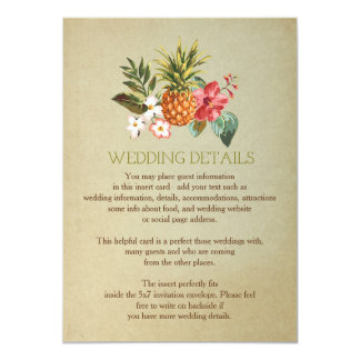 wedding details tropical pineapple beach insert card