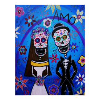 Wedding Dia de los Muertos Couple Poster