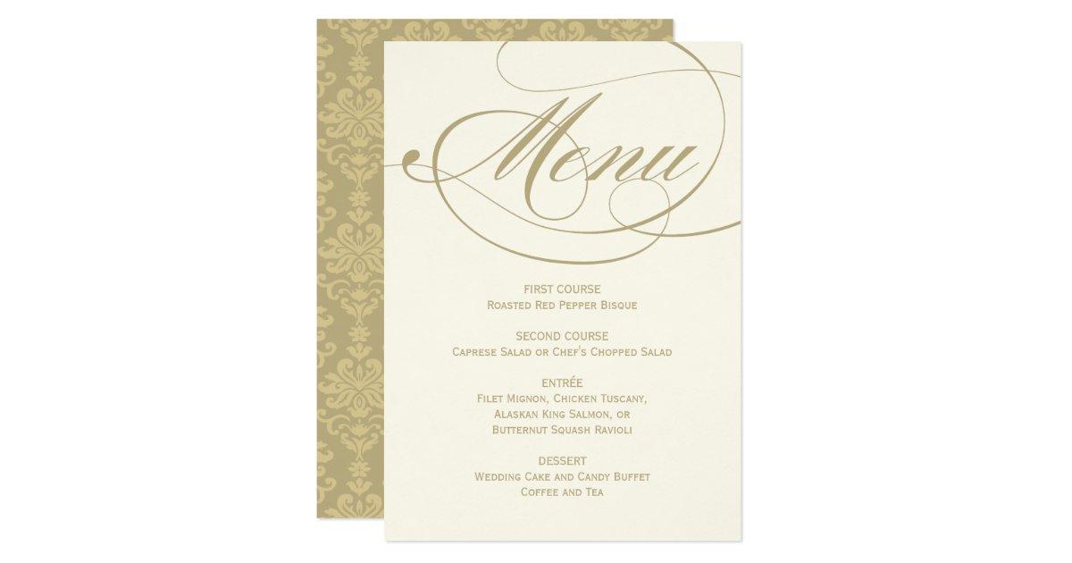 Wedding Dinner Menu Card Gold Calligraphy Design – Wedding Menu