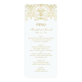 "Wedding Dinner Menu Cards | Gold Vintage Glam 4"" X 9.25"" Invitation Card"