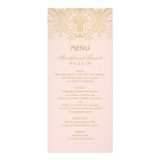 Wedding Dinner Menu Cards | Gold Vintage Glam Customized Rack Card
