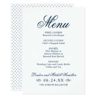 Wedding Dinner Menu | Navy Classic Elegance Card