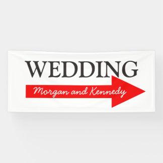 Wedding Direction Banner, Custom Names Red Arrow Banner