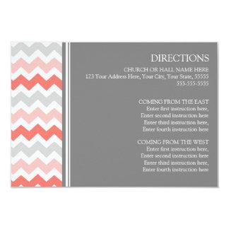 Wedding Direction Cards Coral Grey Chevron 9 Cm X 13 Cm Invitation Card