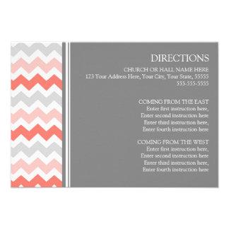 Wedding Direction Cards Coral Grey Chevron