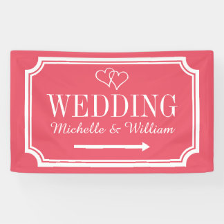 Wedding directional sign banners in custom colors