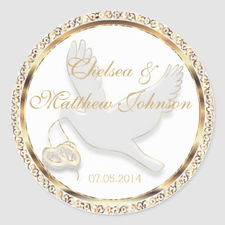 Wedding Dove for the Bride and Groom   Personalize Round Sticker
