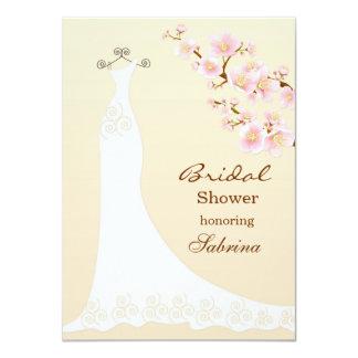 Wedding dres, chery blossom Bridal Shower Card