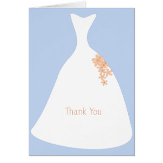 Wedding Dress Blue Thank You Note card
