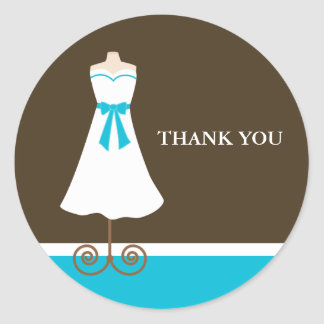 Wedding Dress Bridal Shower Stickers