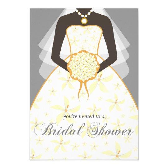 Wedding Dress Custom Bridal Shower Invites Grey