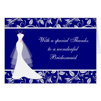 Wedding dress, damask on royal blue Thank you Card