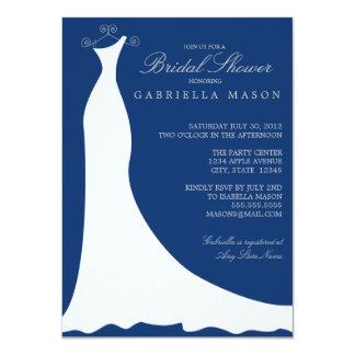 Wedding Dress | Dark Blue 11 Cm X 16 Cm Invitation Card