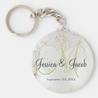 Wedding Dress Monogram Basic Round Button Key Ring