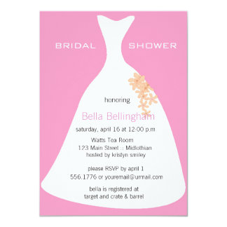 Wedding Dress Pink Bridal Shower Invitation
