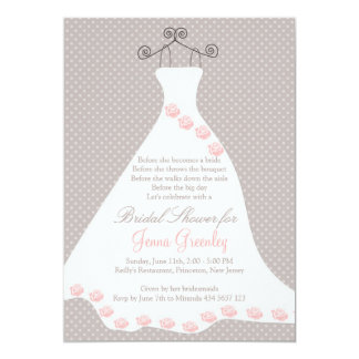 Wedding dress, roses, polka dots 13 cm x 18 cm invitation card