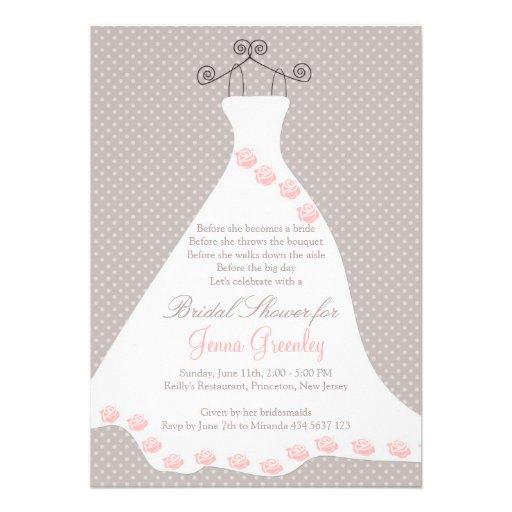 Wedding dress, roses, polka dots invitation