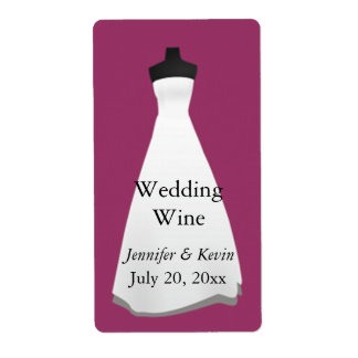 Wedding Dress Wedding Mini Wine Label Shipping Label