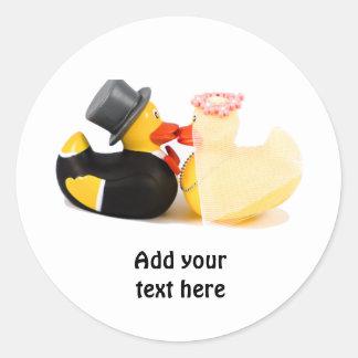 Wedding ducks 1 round sticker