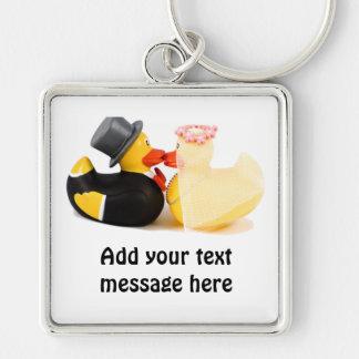 Wedding ducks 1 Silver-Colored square key ring