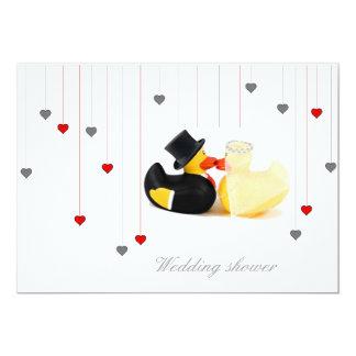 Wedding ducks 2 and two hearts wedding invitation 13 cm x 18 cm invitation card