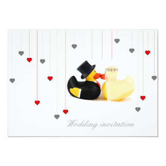 Wedding ducks 3 and two hearts wedding invitation 13 cm x 18 cm invitation card