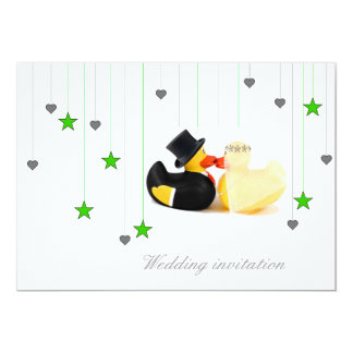 Wedding ducks 3 stars & hearts wedding invitation 13 cm x 18 cm invitation card