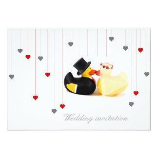 Wedding ducks 4 and two hearts wedding invitation