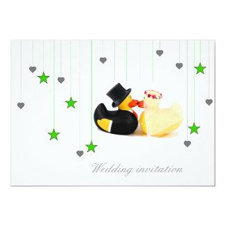 Wedding ducks 4 stars & hearts wedding invitation 13 cm x 18 cm invitation card