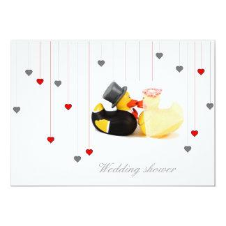 Wedding ducks and two hearts wedding invitation