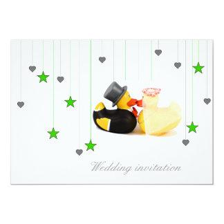 Wedding ducks stars and hearts wedding invitation