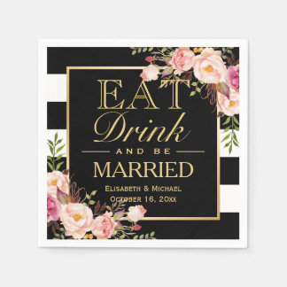 Wedding EAT Drink and Be Married Floral Gold Frame Disposable Napkins